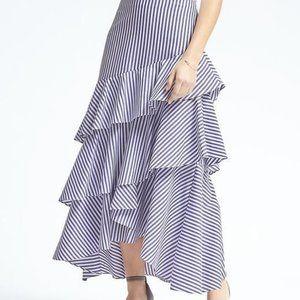 Banana Republic Tiered Stripe Ruffled Maxi Skirt